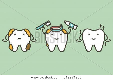 Tooth Holding Toothbrush And Toothpaste, Compare Before And After Of Brushing Teeth - Dental Cartoon