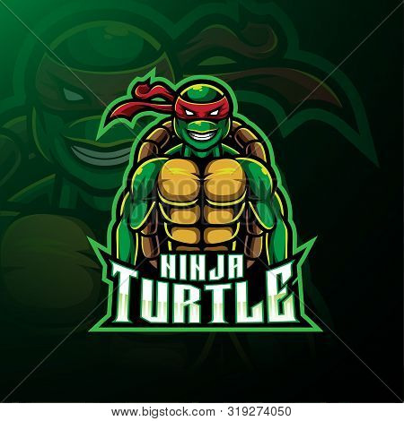 Turtle Sport Mascot Logo Design With Text