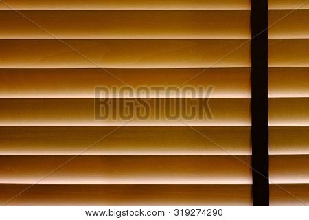 Closeup Of Bamboo Blind Curtain In House, Sunlight Protection, Hiding From Someone Or Something Conc
