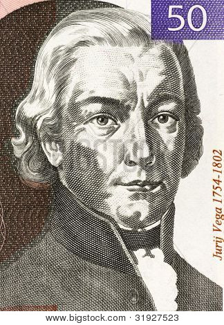 SLOVENIA - CIRCA 1992: Jurij Vega (1754-1802) on 50 Tolarjev 1992 Banknote from Slovenia. Slovenian mathematician, physicist and artillery officer.