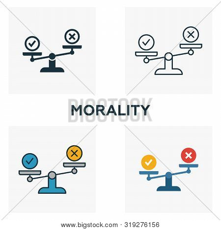 Morality icon set. Four elements in diferent styles from business ethics icons collection. Creative morality icons filled, outline, colored and flat symbols poster