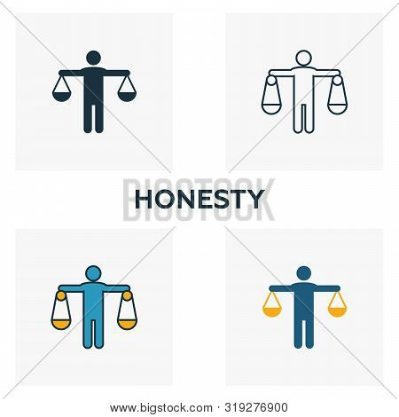 Honesty Icon Set. Four Elements In Diferent Styles From Business Ethics Icons Collection. Creative H