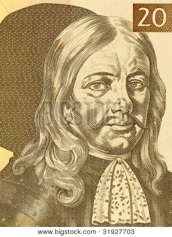 SLOVENIA - CIRCA 1992: Janez Vajkard Valvasor (1641-1693) on 10 Tolarjev 1992 Banknote from Slovenia. Nobleman, scholar, polymath, and fellow of the royal society.