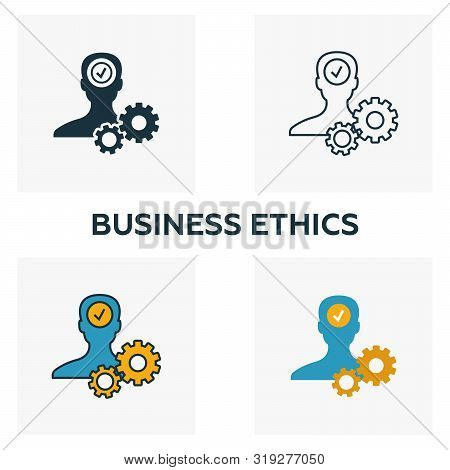 Business Ethics Icon Set. Four Elements In Diferent Styles From Business Ethics Icons Collection. Cr