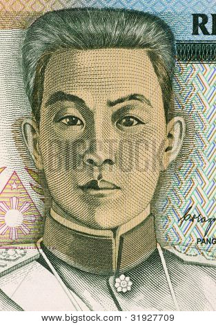 PHILIPPINES - CIRCA 1990: Emilio Aguinaldo (1869-1964) on 5 Piso 1990 Banknote from Philippines. Filipino general, politician and independence leader.
