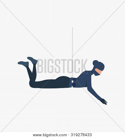 Burglar Roping Down. Car Burglary, Thieves, Criminals Wearing Black Clothes. Crime Concept. Vector I