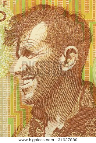 NEW ZEALAND - CIRCA 1999: Edmund Hillary (1919-2008) on 5 Dollars 1999 Banknote from New Zealand. New Zealand mountaineer, explorer and philanthropist.