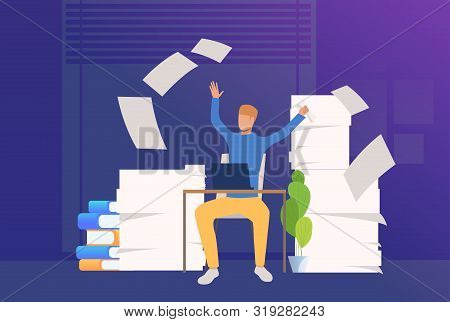 Office Man Coping With Paper Work. Mess, Paper Piles, Employer. Unorganized Office Work Concept. Vec
