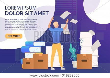 Office Man Dealing With Paper Work Landing Template. Mess, Paper Piles, Employer. Unorganized Office