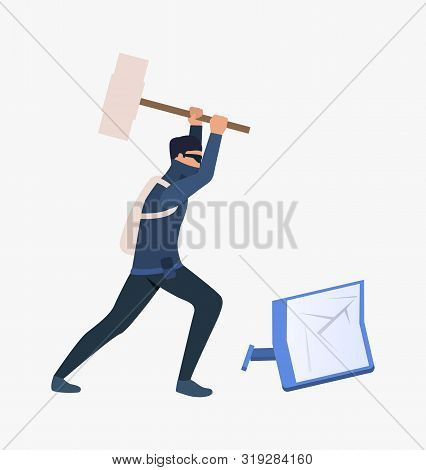 Thief Breaking Screen. Car Burglary, Thieves, Criminals Wearing Black Clothes. Crime Concept. Vector