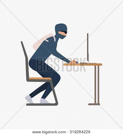 Thief Hacking Computer. Car Burglary, Thieves, Criminals Wearing Black Clothes. Crime Concept. Vecto