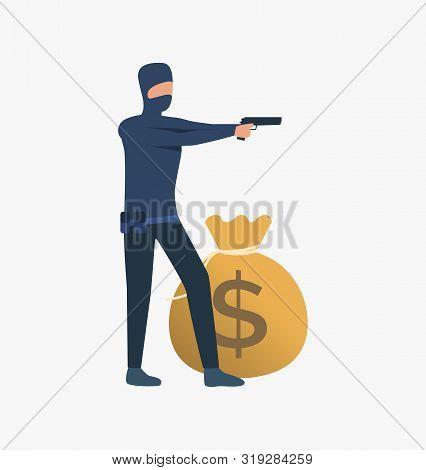 Thief Holding Gun. Car Burglary, Thieves, Criminals Wearing Black Clothes. Crime Concept. Vector Ill