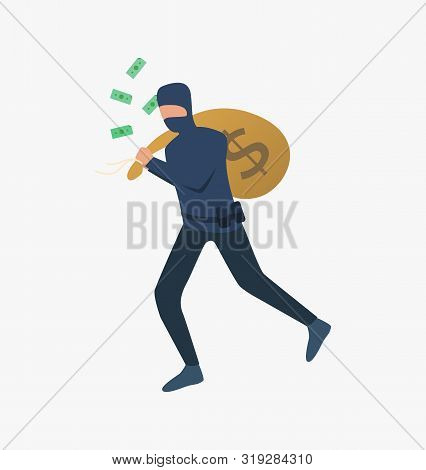 Thief Running With Bag Of Money. Car Burglary, Thieves, Criminals Wearing Black Clothes. Crime Conce