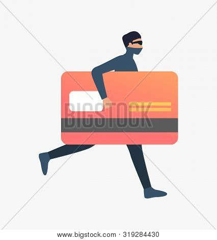 Thief Running With Plastic Card. Car Burglary, Thieves, Criminals Wearing Black Clothes. Crime Conce