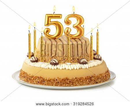 Festive Cake With Golden Candles - Number 53