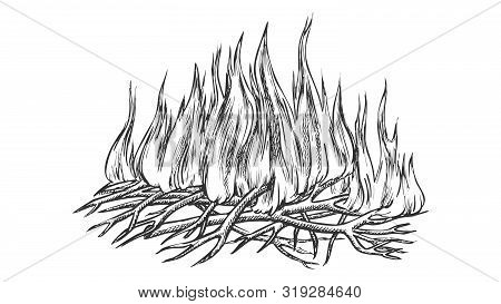 Traditional Burning Camping Fire Monochrome Vector. Tree Branch Sticks Twigs Fire Campfire. Sprouts