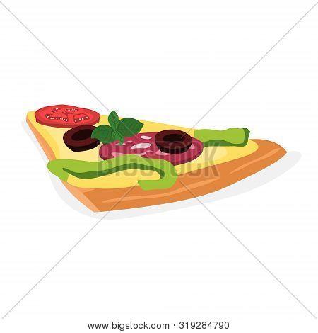 Tasty Delicious Pizza Slice. Italian Food. Salami