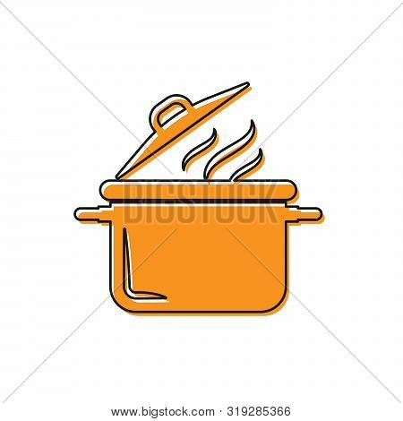 Orange Cooking Pot Icon Isolated On White Background. Boil Or Stew Food Symbol. Vector Illustration