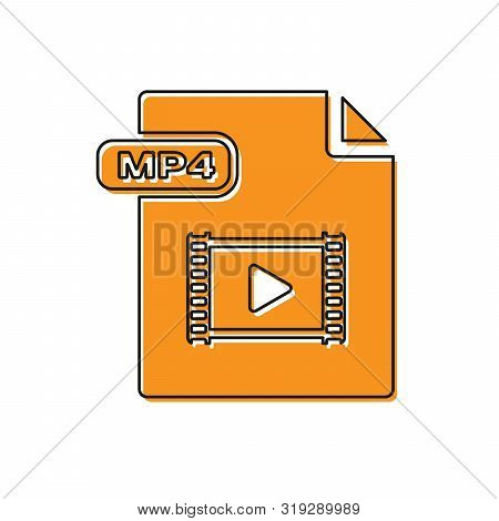 Orange Mp4 File Document. Download Mp4 Button Icon Isolated On White Background. Mp4 File Symbol. Ve