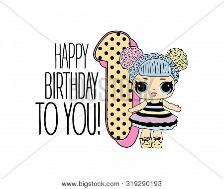 Cute Vector Lol Doll With Black And Pink Hair And Big Black Eyes. Design For Baby Girl T-shirt, Deco