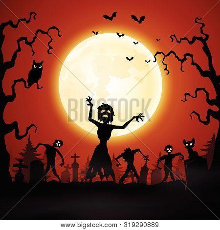 Halloween Background With Zombie Walking In Graveyard