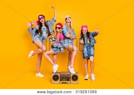 Full Length Size Photo Of Group Of Four People Carefree Students Having Fun Discotheque White Parent