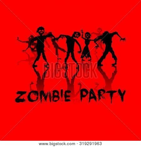Halloween Silhouette Background With Zombie Party Illustrations