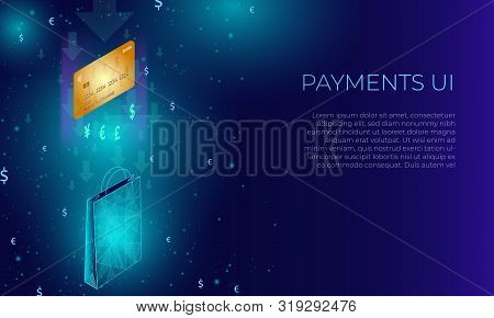 Isometric Poligonal Concept Of Paying By Credit Card And Getting Presents, Gifts And Other Goods. Bl