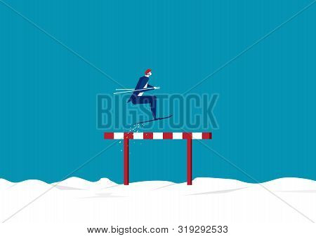 Businessman Use Sky Jumping  Over Hurdles Or Obstacles On Snow Background. Symbol Of Determination,