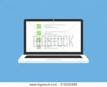 Laptop In Trendy Flat Style With Checklist On Screen. Exam Form. Questionnaire Form Test Checklist S