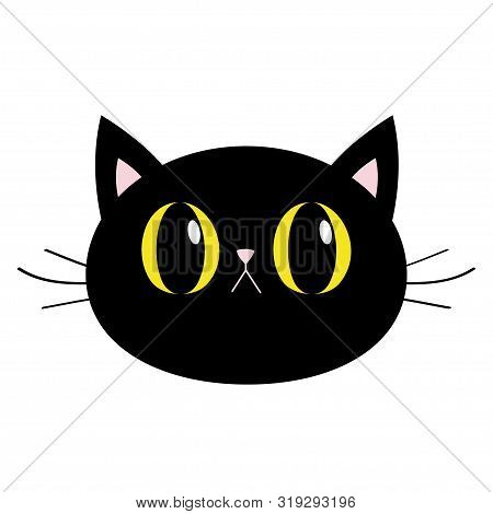 Black Cat Round Head Face Icon. Big Yellow Eyes. Pink Nose, Ears. Cute Funny Cartoon Character. Sad