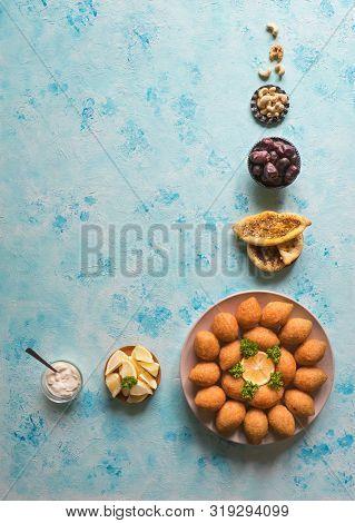 Lebanese Kibbeh, Stuffed Meatballs Food. Fried Bulgur And Meat Balls.