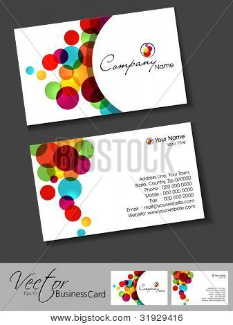 Abstract colorful bright color professional and designer business cards template or visiting card set. EPS 10. Vector illustration.