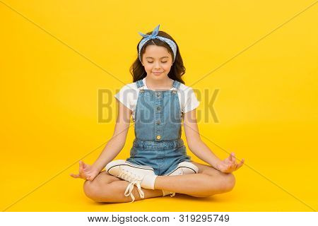 Stay Positive And Optimistic. Private Space To Relax. Yoga Training. Kid Adorable Girl Sit Meditate.