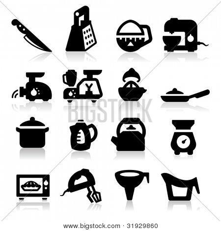 Kitchen utensil icons set -?? Elegant series