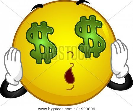 Illustration of a Money-crazed Smiley Seeing Dollars