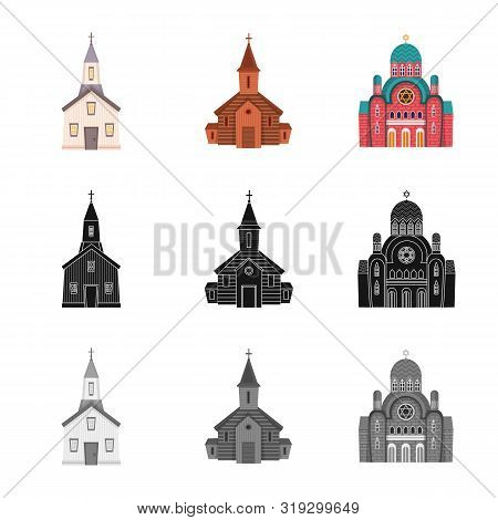 Vector Illustration Of Cult And Temple Sign. Collection Of Cult And Parish Stock Vector Illustration