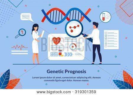 Flat Banner Inscription Geneticist Prognosis. Genetic Diagnosis To Determine Persons Predisposition