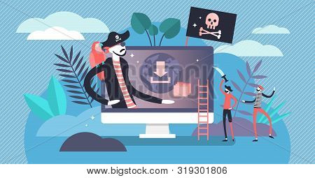 Online Piracy Vector Illustration. Flat Tiny Illegal Hackers Persons Concept. Internet Thief, Crime