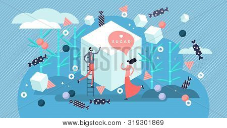 Sugar Vector Illustration. Flat Tiny Sweet Taste Product Person Concept. Delicious Dessert Ingredien
