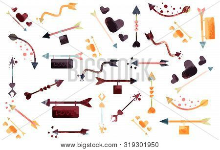 Set Of Colorful Watercolor Arrows Design, Element,