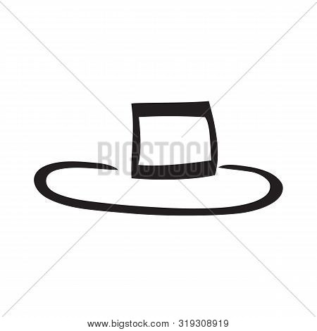 Black And White Hat With White Backdrop