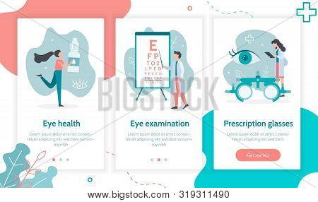 Three Steps To Eye Health. Ophthalmology Concept. Onboarding Screens Template For Mobile Application
