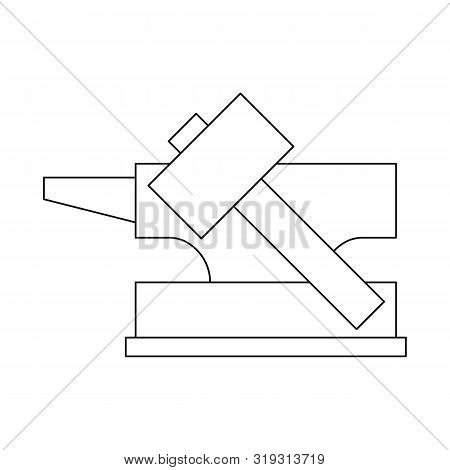 Vector Illustration Of Hammer And Hephaestus Sign. Set Of Hammer And Olympus Stock Symbol For Web.