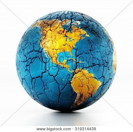 Dry Earth With Cracked Soil. Copy Space On The Left. 3d Illustration.