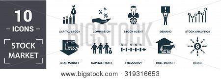 Stock Market Icon Set. Contain Filled Flat Bear Market, Bull Market, Stock Analytics, Stock Agent, C