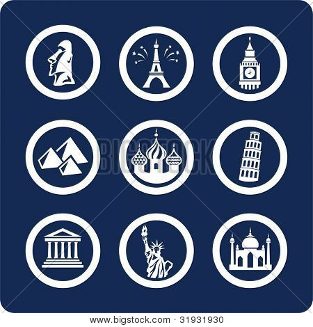 """World Famous Places (p.1) To see all icons, search by keywords: """"agb-vector"""" or """"agb-raster"""""""