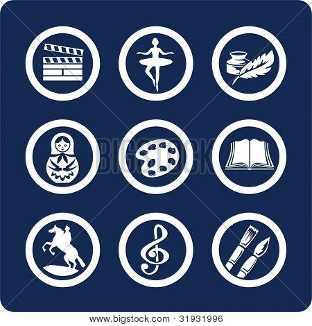 Cultura y arte (p.2). Para ver todos los iconos, búsqueda por palabras clave: