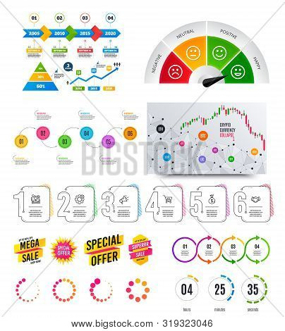 Infographic Elements. Financial Graph, Timelines, Options Banner Badges. Sale Discount Shapes, Count