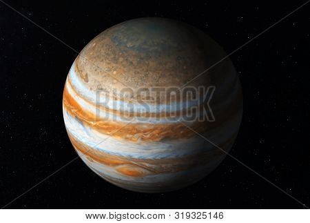 Planet Jupiter, With A Big Spot, On A Dark Background Elements Of This Image Were Furnished By Nasa